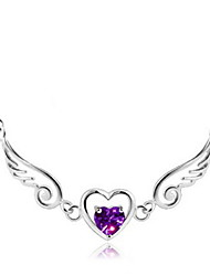 cheap -Women's Heart Wings / Feather Love Bridal Pendant Necklace Sterling Silver Pendant Necklace , Wedding Party Gift Daily Casual