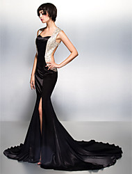 Mermaid / Trumpet Sweetheart Court Train Charmeuse Formal Evening Dress with Beading by TS Couture®