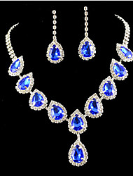 cheap -Women's Cubic Zirconia / Imitation Diamond Cute Jewelry Set Earrings / Necklace - Party / Colorful / Fashion Gold / Blue Jewelry Set For