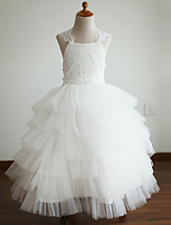 Ball Gown Ankle Length Flower Girl Dress - Lace Tulle Sleeveless Straps with Bow(s) by thstylee