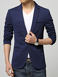 cheap -Men's Business Formal Plus Size Slim Blazer-Solid Colored / Long Sleeve / Work