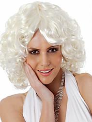 abordables -Pelucas sintéticas Rizado Corte asimétrico Pelo sintético Entradas Naturales / Raya en medio Blanco Peluca Mujer Corta Sin Tapa