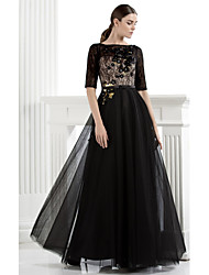 A-Line Bateau Neck Floor Length Lace Tulle Formal Evening Black Tie Gala Dress with Flower(s) Lace by TS Couture®
