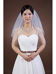 Duas Camadas Borda Lápis Véus de Noiva Véu Cotovelo Com Fita Strass Tule