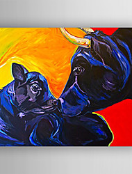 Oil Painting Cow and Little Cow Hand Painted Canvas with Stretched Framed Ready to Hang