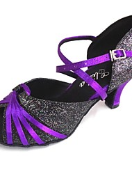 cheap -Men's / Women's Latin Shoes Sparkling Glitter / Satin Sandal Customized Heel Customizable Dance Shoes Purple / Indoor / Performance