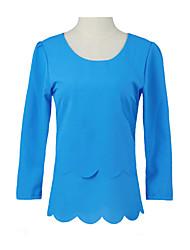 billige -U-hals Dame - Ensfarvet Blomst Skjorte / Efterår