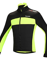 SANTIC Cycling Jacket Bike Jacket Top Men's Thermal / Warm Windproof Anatomic Design Fleece Lining Reflective Strips Cotton 100% Polyester