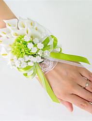Недорогие -Свадебные цветы Ручная работа Лилии Букетик на запястье Свадьба Партия / Вечерняя Атлас Эластичный атлас