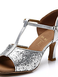 Women's Dance Shoes Latin Sparkling Glitter Heel Silver/Gold Customizable