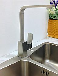 baratos Torneiras Cozinha-Moderna Bar / Prep Montagem em Plataforma Pré Enxaguada Válvula Cerâmica Uma Abertura Monocomando e Uma Abertura Níquel Escovado,