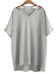 Women's Cut Out Solid T-shirt (cotton)  Soft Comfortable loose