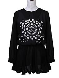 cheap -Women's Print Blue / Pink / Black / Almond Dress , Print Peter Pan Collar Long Sleeve