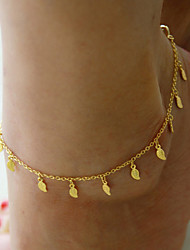cheap -Women's Simple Gold Plated Trinkets Leaves Pendant Tassel Anklet