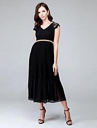 お買い得  -女性用 ストリートファッション ルーズ シース フレア ドレス - すかしカット プリーツ, ソリッド ミディ ハイライズ