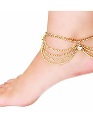 cheap -Imitation Diamond - Women's Screen Color Tassel Vintage Cute Party Work Casual Multi Layer Imitation Diamond Alloy Anklet For Daily