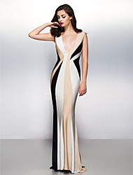 Mermaid / Trumpet V-neck Sweep / Brush Train Jersey Formal Evening Dress with Pleats by TS Couture®