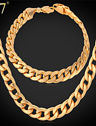 cheap -Men's / Women's Rose Gold / Rose Gold Plated Jewelry Set Bracelet / Necklace - Luxury / Vintage / Party Jewelry Gold / Silver / Red Chain