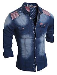 Camicia Da uomo Casual Semplice Autunno / Inverno,Monocolore Colletto classico Poliestere Blu Manica lunga Medio spessore