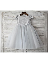 cheap -A-Line Knee Length Flower Girl Dress - Tulle Sequined Short Sleeves Jewel Neck with Sequins by LAN TING BRIDE®
