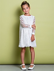 cheap -A-Line Knee Length Flower Girl Dress - Lace Long Sleeves Scoop Neck with Lace by LAN TING BRIDE®