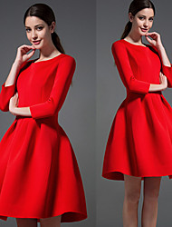 cheap -D A Y Women's Solid Color Red / Black Dresses , Casual Round Long Sleeve