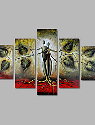 cheap -Hand-Painted Oil Painting on Canvas Wall Art Landscape Trees Abstract Modern Home Deco Five Panel Ready to Hang