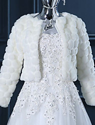 Wedding  Wraps Shrugs Long Sleeve Faux Fur White Wedding Feathers / fur Open Front