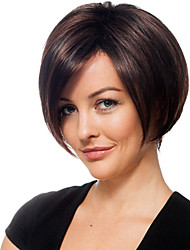 "Short Straight Bob Human Hair Monofilament Top(1"")Charming Capless Wig for Woman"