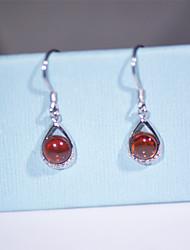 cheap -Women's Crystal Drop Earrings - Sterling Silver, Zircon, Cubic Zirconia Fashion Dark Red For