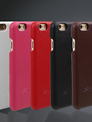 cheap -Case For iPhone 6s iPhone 6 Apple iPhone 6 Other Back Cover Solid Color Hard Genuine Leather for iPhone 6s iPhone 6