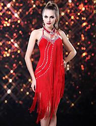 abordables -Danse latine Robes Femme Utilisation Rayonne Spandex Gland Sans Manches Robe