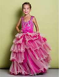 A-Line Floor Length Flower Girl Dress - Organza Satin Sleeveless Straps with Beading by LAN TING BRIDE®