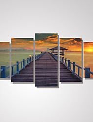 cheap -5 Panels Sunset Wooden Bridge by the Beach Picture Print on Canvas Unframed
