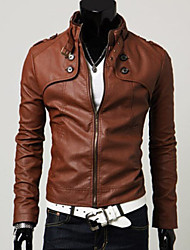cheap -Men's Daily Wear Classic & Timeless Spring Fall Leather Jackets,Solid Color Stand Long Sleeves Regular Faux Fur N/A