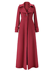 Women's Trench Coat,Solid Stand Long Sleeve Winter Blue / Red / Black / Green Wool / Others Medium