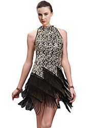 cheap -Latin Dance Dresses Women's Performance Cotton / Spandex Tassel Sleeveless Dress
