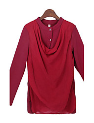 cheap -Women's Solid Color Red / Green / Purple Tops & Blouses , Casual Stand Long Sleeve