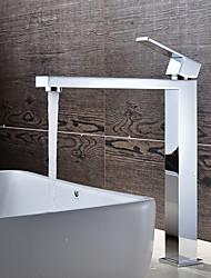 Недорогие -Ванная раковина кран - Вращающийся Хром По центру Одно отверстие / Одной ручкой одно отверстиеBath Taps / Латунь