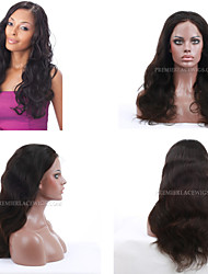 cheap -Human Hair Full Lace / Lace Front Wig Natural Wave Wig 130% Natural Hairline / African American Wig / 100% Hand Tied Women's Short / Medium Length / Long Human Hair Lace Wig