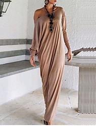 Ample Robe Femme Soirée / CocktailCouleur Pleine Col Arrondi Maxi Manches Longues Marron / Gris Coton Automne Micro-élastique Moyen