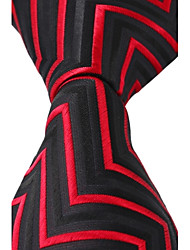 cheap -New Black Red Jacquard Silk Men Business Suit Necktie Tie