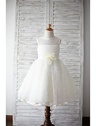 cheap -A-Line Knee Length Flower Girl Dress - Lace Sleeveless Jewel Neck with Flower(s) Sash / Ribbon by LAN TING BRIDE®