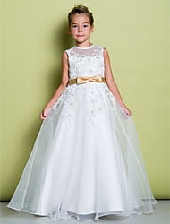 cheap -A-Line Floor Length Flower Girl Dress - Organza Sleeveless Jewel Neck with Appliques by LAN TING BRIDE®
