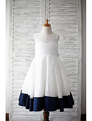 A-Line Tea Length Flower Girl Dress - Lace Satin Sleeveless Jewel Neck with Bow(s) by thstylee