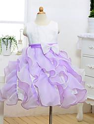 une robe de fille à rayures en ligne à genoux en coton - coton en polyester tulle sans cravate avec ruban par ydn