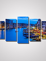 cheap -5 Panels Venice The City Light Picture Print on Canvas Unframed