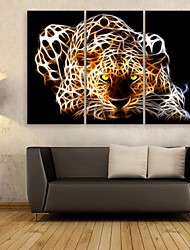 cheap -E-HOME® Stretched Canvas Art Shiny Leopard Decoration Painting  Set of 3