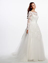 cheap -A-Line Scoop Neck Court Train Lace Tulle Custom Wedding Dresses with Appliques Lace by LAN TING BRIDE®