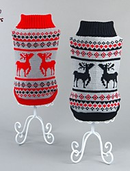 cheap -Cat Dog Sweater Dog Clothes Christmas New Year's Reindeer Black Red Costume For Pets